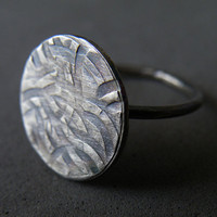 Cocktail Ring Oxidized Sterling Silver Texture Ring Urban Ring by SteamyLab