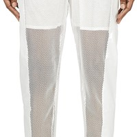 White Mesh & Leather Trousers