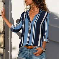 Blouse Women 2019 Fashion Striped Office Ladies Shirts Long Sleeve Casual Loose Blouses Turn Down Collar Leisure Tops Blusas
