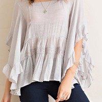 Gauze Boat Neck Peasant Blouse - Silver