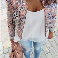 Printed Sleeve Zipper Cardigan