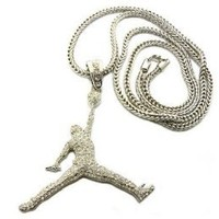 AIR MICHAEL JORDAN PENDANT & FRANCO CHAIN NECKLACE SILVER ICED JUMPMAN
