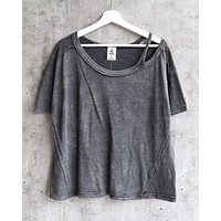 Free People - Alex Split Shoulder Tee - Charcoal