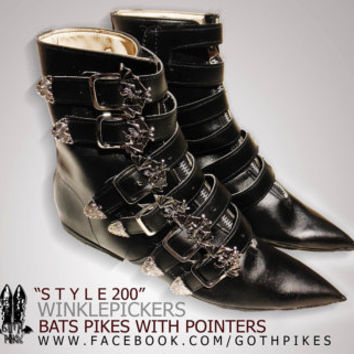 Bat Pikes Winklepickers boots Goth Gothic Batcave WGT Siouxsie 80s UNISEX  bats buckles