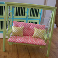 Doll Swing Set with Cushion & Throw Pillows for American Girl or 18-inch Doll