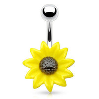 Sun Flower Navel Ring Belly Ring 14ga Surgical Stainless Steel Body Jewelry