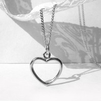 Open Heart Necklace, Sterling Silver Heart Necklace, Curb Chain, Charm Heart Sterling Silver, Birthday Necklace, Bridal Gift Idea, Artida