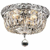 Wiley 4-Light Flush-Mount Light, Chrome Finish, Clear Crystal, Royal Cut