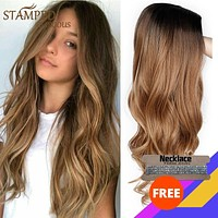 Glorious natural wave stamped ombre wig black brown wig long synthetic wigs