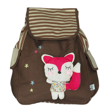 Cute Fox Fabric Art School Backpack Outdoor Daypack