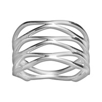 Sterling Silver Wave Ring (Grey)