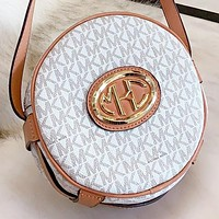 MK Michael kors New fashion more letter leather round shoulder bag crossbody bag White