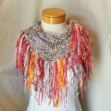 White fringed  triangle scarf Cowl neck shawlette Spring knit scarf Bright orange black pink yellow fring Evening wear party
