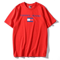 Tommy Summer New Fashion Bust Letter Stripe Print Women Men T-Shirt Top Red