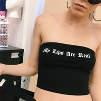Comfortable Stylish Bralette Beach Hot Spaghetti Strap Bra Alphabet Print Sexy Summer Vest [763529658484]