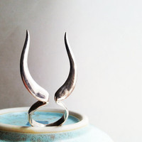 Sterling silver handmade horn ring, unique and cool statement ring