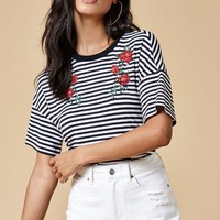 DCCKYB5 Kendall and Kylie Striped Embroidered T-Shirt