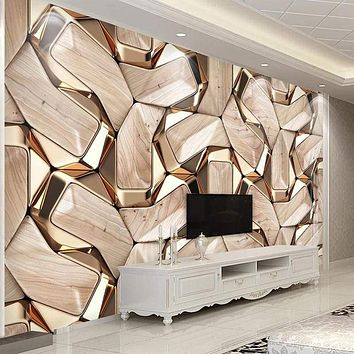 Custom 3D Abstract Geometry Gold Metal Pattern Wall Paper