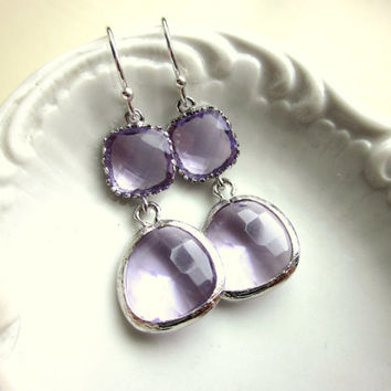 Lavender Earrings Purple Silver Lilac Two Tier - Bridesmaid Earrings - Wedding Earrings - Valentines Day Gift - Gift under 35