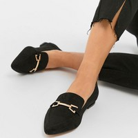 ASOS DESIGN Lance Wide Fit Pointed Loafer Ballet Flats at asos.com