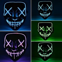 Halloween LED Mask Light Up Funny Masks The Purge Election Year Great Festival Cosplay Costume Supplies Party Masks Glow In Dark