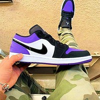 AJ AIR Jordan1 NIKE Low tops sneakers Basketball shoes black purple