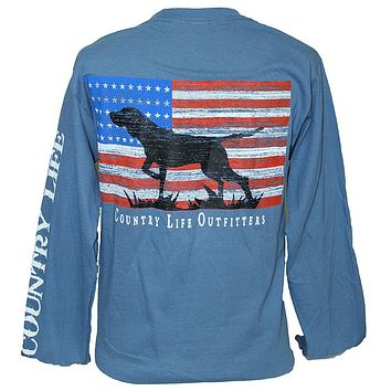 Country Life Outfitters Vintage USA Flag Dog Unisex Long Sleeve T-Shirt