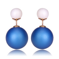 Gum Tee Mise en Style Tribal Earrings - Matte Royal Blue and White