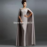 Ladies Long Evening Dresses With Cape 2016 Collection Formal Appliques O-neck Evening Gowns Fashion Brand