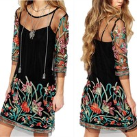 Sexy Women Lace Mesh Sheer Embroidered Floral Tops Casual Party Beach Mini Dress
