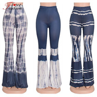 Fashion Bell-bottomed Women Flare Pants Elastic Waist Eyelet Mesh Fitness Long Trousers Slim Hip Women Pants