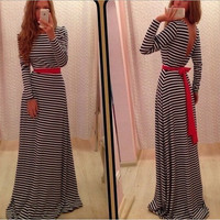 Monochrome Stripe Ribbon-Tie Waist Fishtail Maxi Dress