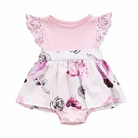 Family Matching Outfits Cute Toddler Kids Girl born Baby Sisters Lace Floral Ruffles Sun-suit Outfit Sundress Clothes