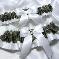 ACU Digital Camouflage and White Satin Wedding Garter Set w/ Swarovski Crystal - Toss Garter Included