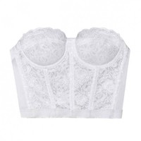 Flower Bomb Lace Bustier - White - Tops - Clothing