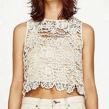 Cream Crochet Lace Cut Out Back Top