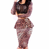 Leopard Long Sleeve Bodycon Cropped Top Peplum Midi Skirt Set with Black Mesh Accent
