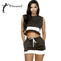 2016 sexy women summer shorts sets crop top set ladies tie up sleeveless loose top and shorts 2 piece plus size