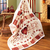 """Heart Berry Stars Sherpa Throw Soft 50"""" x 60"""" Country Rustic Primitive Decor"""