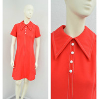 Vintage 60s Mod Orange Red Scooter Dress, A Line Dress, Big Collar, Short Sleeve, Short Casual Dress, Twiggy Dress, Size S M