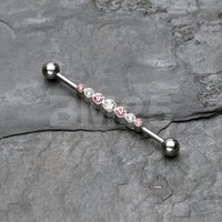 Clear/Pink Dazzling Gem Row Industrial Barbell