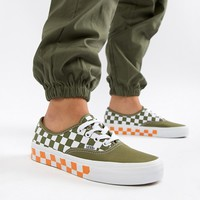 Vans Exclusive Olive And Orange Mix Checkerboard Authentic Trainers at asos.com
