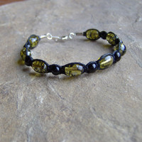 Black Hemp Bracelet or Anklet w/ Olive Green by KnottyandNiceHemp