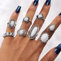 ON SALE - All Mined Opal Collection Boho Midi-Knuckle Rings Set of 8