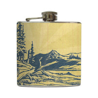 Blue Pine Trees Hip Flask Vintage  Forest Mountain Landscape Camping Hiking Gift Stainless Steel 8 oz or 6 oz Liquor Hip Flask LC-1039