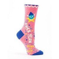 Fuck Yeah Kind Of Day Women's Crew Power Socks Hipster/Nerdy/Geeky/Trendy, Pink Funny Novelty Socks with Cool Design, Bold/Crazy/Unique/Quirky Dress Socks