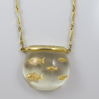 Vintage Castlecliff Necklace Jelly Belly Fish Bowl Book Piece Harrice Simmons Clear Lucite