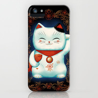 Lucky Cat iPhone Case by Cat Finnie