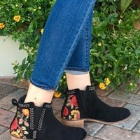 In Motion Embroidered Booties- Black