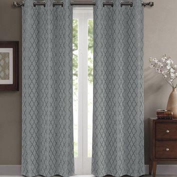 Gray Willow Blackout Window Curtain Panels (Two Panels )